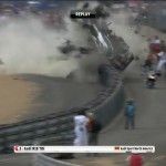 Audi R18 McNish car smashes out at Le Mans 24 Hour after crash with Ferrari 458