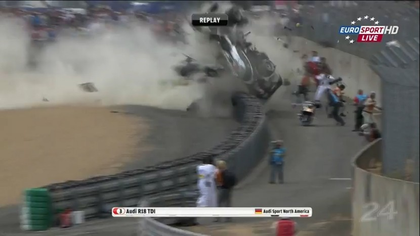 Audi R18 and Ferrari 458 don't mix at Le Mans 24 hour race