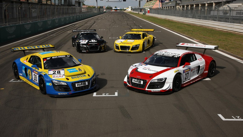 Four Audi R8 LMS at the 24 hour race at the Nürburgring