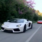 Two Lamborghini Aventador super cars on the mountain roads