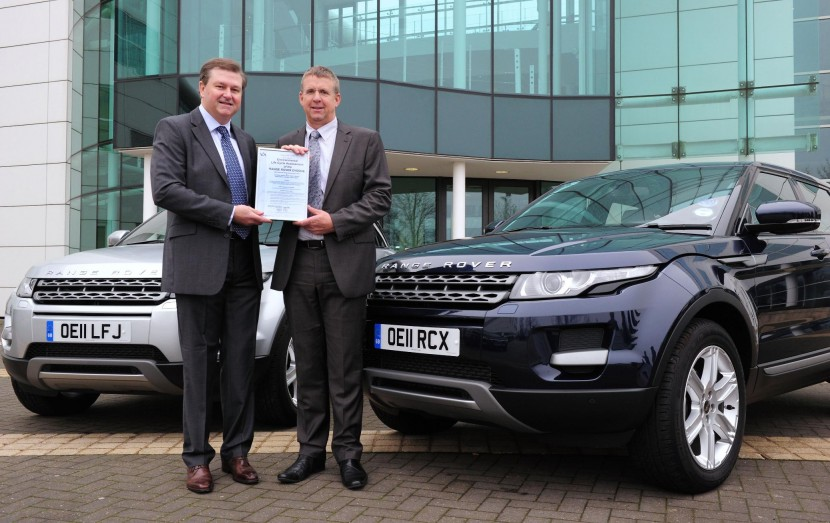 Environmental certification for Range Rover Evoque
