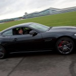 Martin Brundle tests Jaguar XKR-S on track at Silverstone