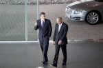 McLaren Group Chairman Ron Dennis walks UK Prime Minister David Cameron from his Jaguar XJ at the new McLaren Production Centre, Woking, UK.