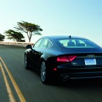 Rear view of award winning black Audi A7