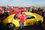 Massa With A Yellow 355 At Ferrari World Record Convoy Parade At Silverstone Race Circuit 964 Cars On The Track