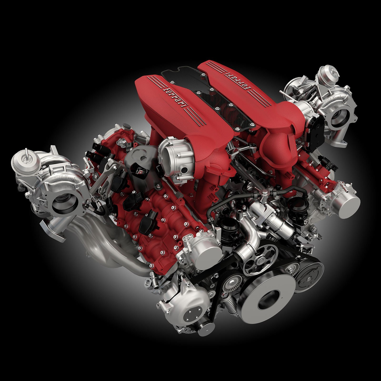 Ferrari 488 GTB turbo charged engine