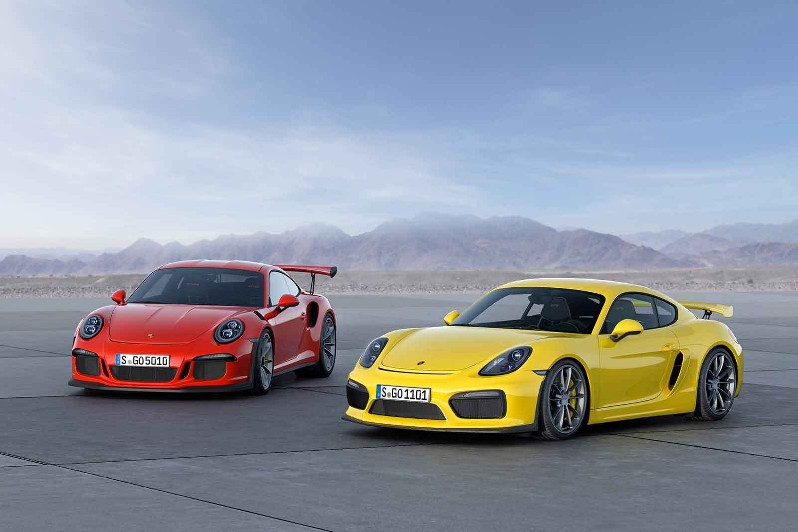 The new Porsche Cayman GT4 and the 911 GT3 RS