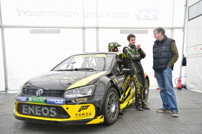 Tanner Foust and James May with the Marklund Motorsport VW Polo