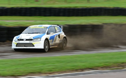 On track James May at the wheel of the 600hp VW Polo Rallycross car