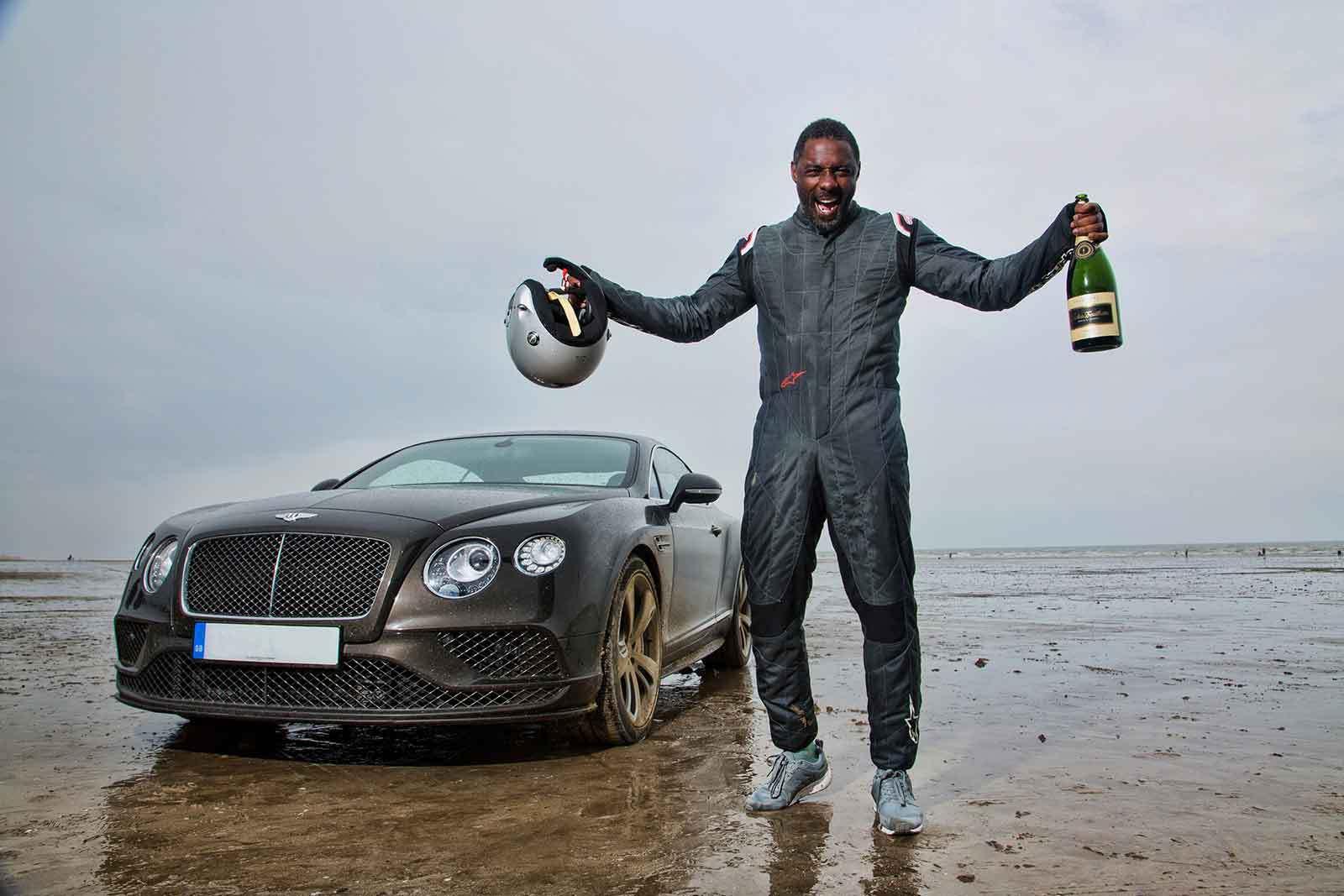 Idris Elba breaks 'Flying Mile' at legendary land speed location Pendine Sands in Bentley Continental GT Speed
